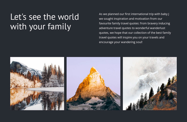 Travel with your  family Website Template