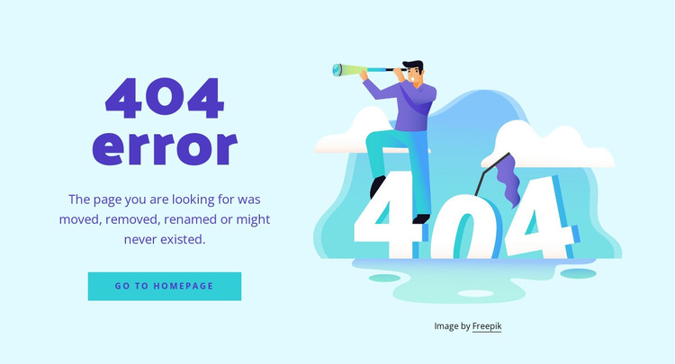 The 404 error message HTML Template