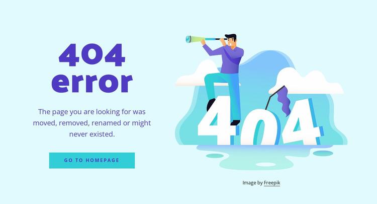 The 404 error message Website Mockup