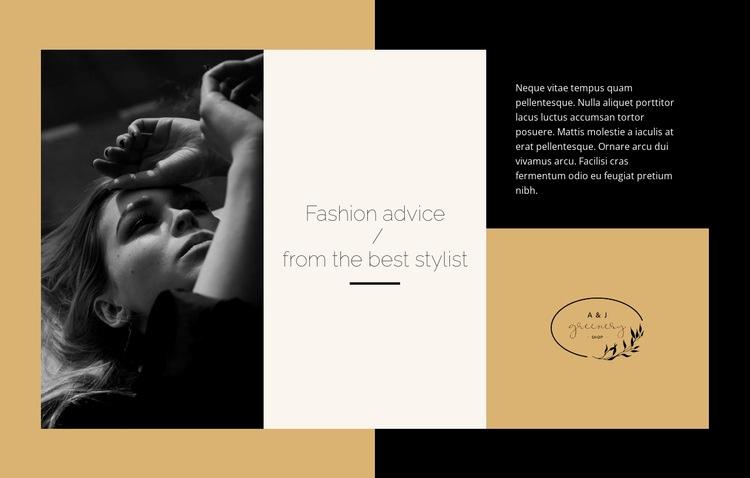 Fashion advice Web Page Design
