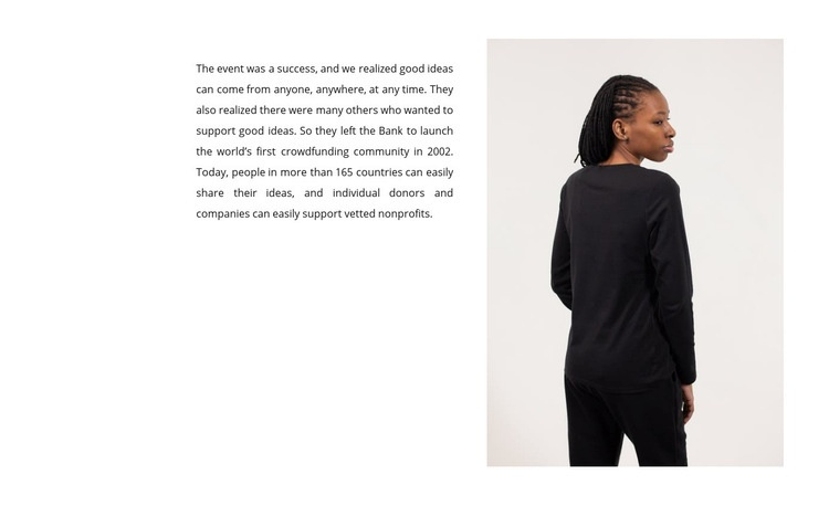 Text and woman in black Html Code Example