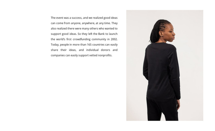 Text and woman in black HTML Template