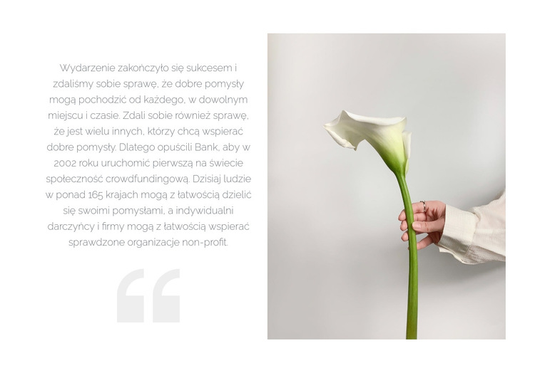 Cytat i piękny kwiat Szablon witryny sieci Web