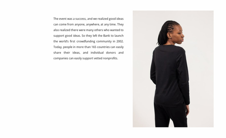 Text and woman in black Website Design