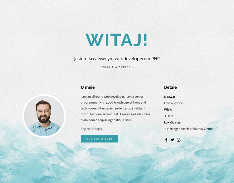 Jestem programistą php Szablon witryny sieci Web