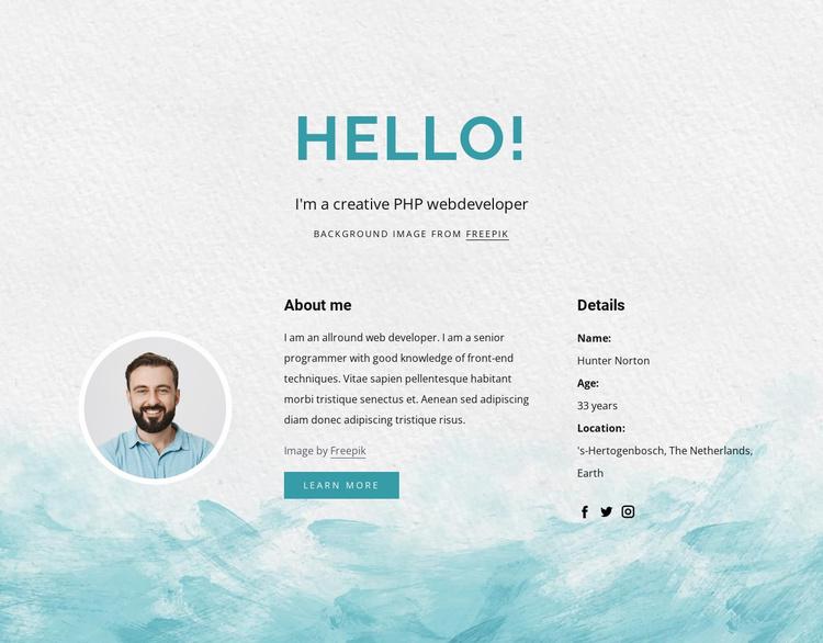 I am php developer Landing Page