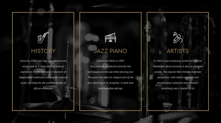 The history of jazz HTML5 Template