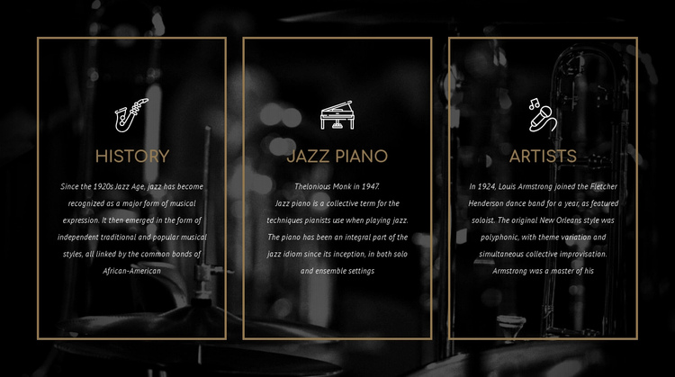 The history of jazz One Page Template