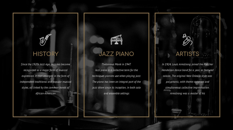 The history of jazz Website Template