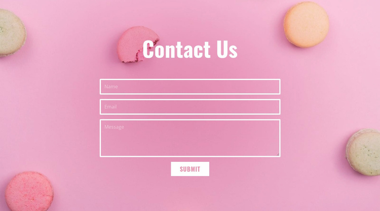 Contact form for bakery cafe Landing Page