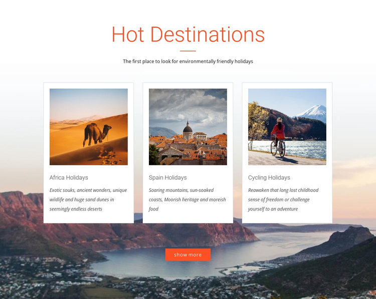 Hot destination One Page Template