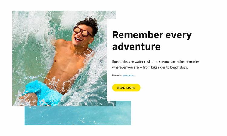 Remember every adventure WordPress Website Builder