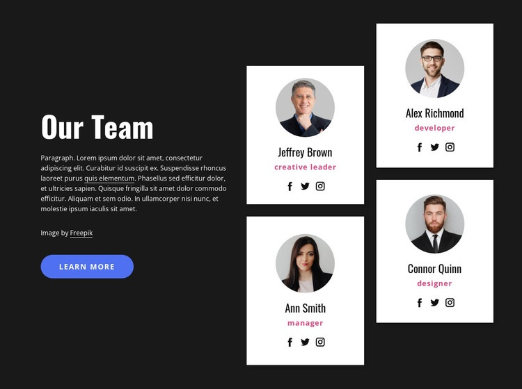 About our team block Web Page Design