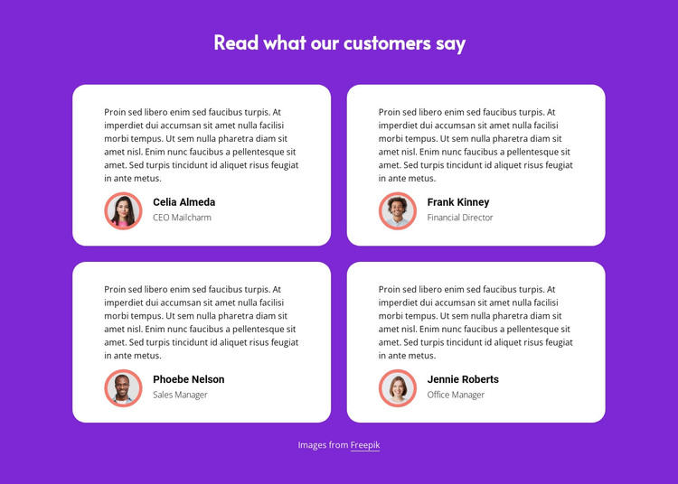 Read what our customers say HTML Template