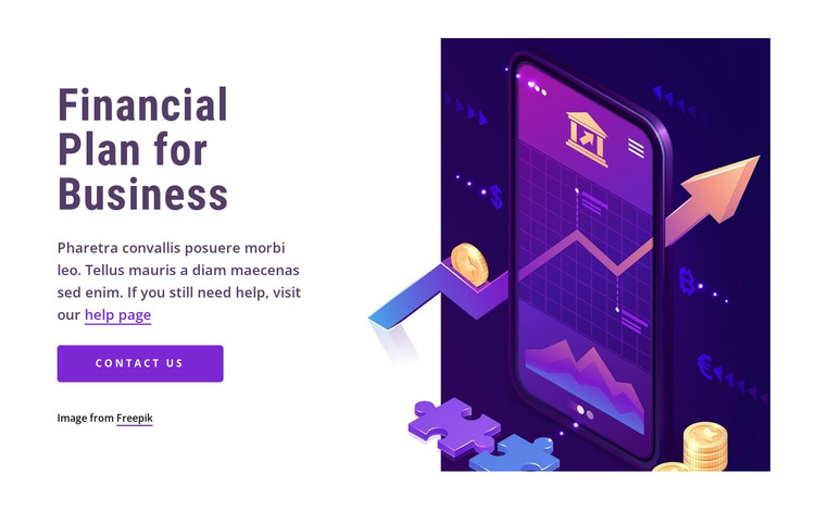 Financial plan for business HTML Template
