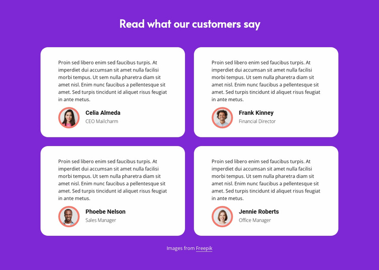 Read what our customers say Website Template