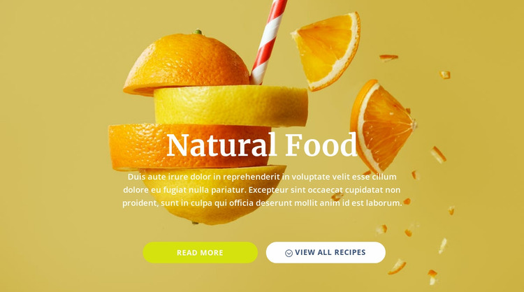 Natural juices and food Website Mockup