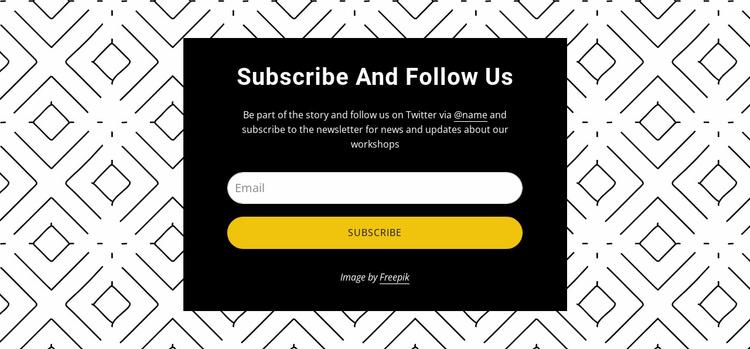 Follow us on pattern background Website Template