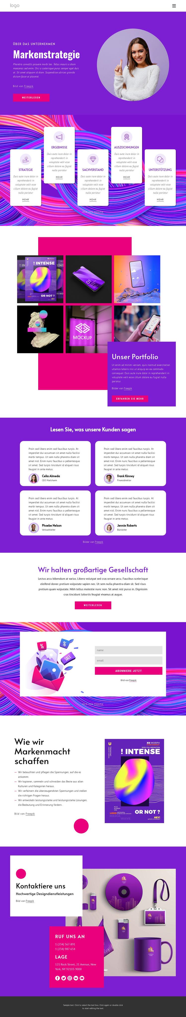 Agentur für Markenstrategie Website-Vorlage