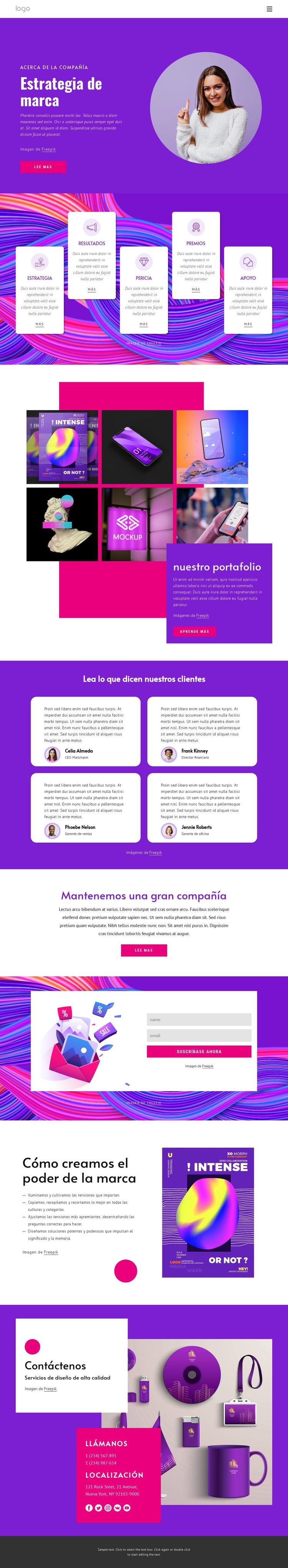 Agencia de estrategia de marca Plantilla de sitio web