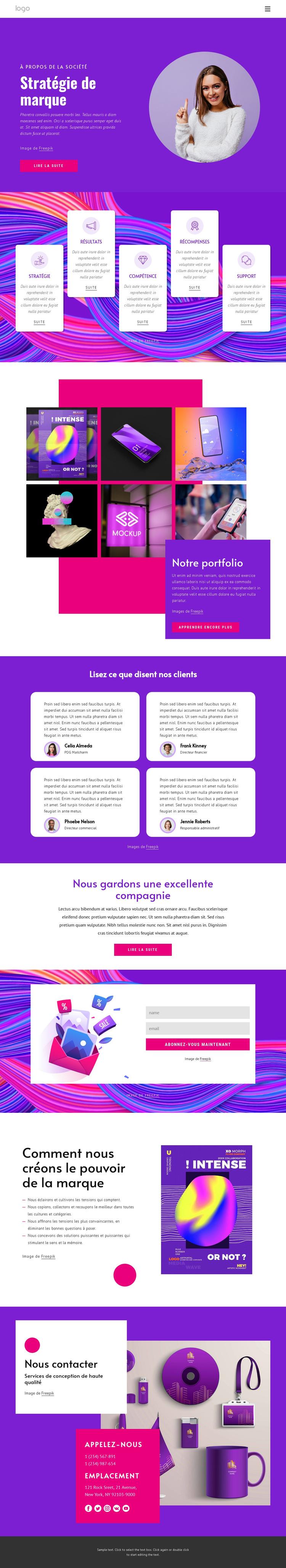 Agence de stratégie de marque Modèle de site Web