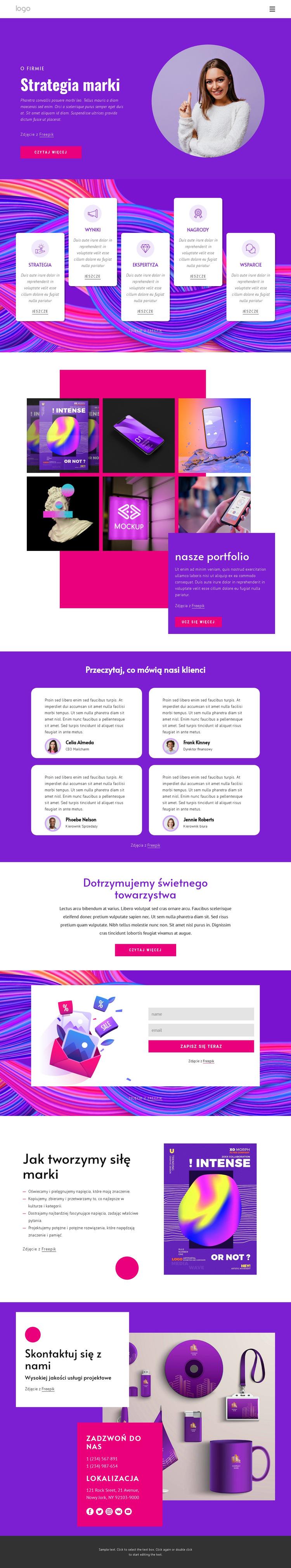 Agencja strategii marki Szablon witryny sieci Web