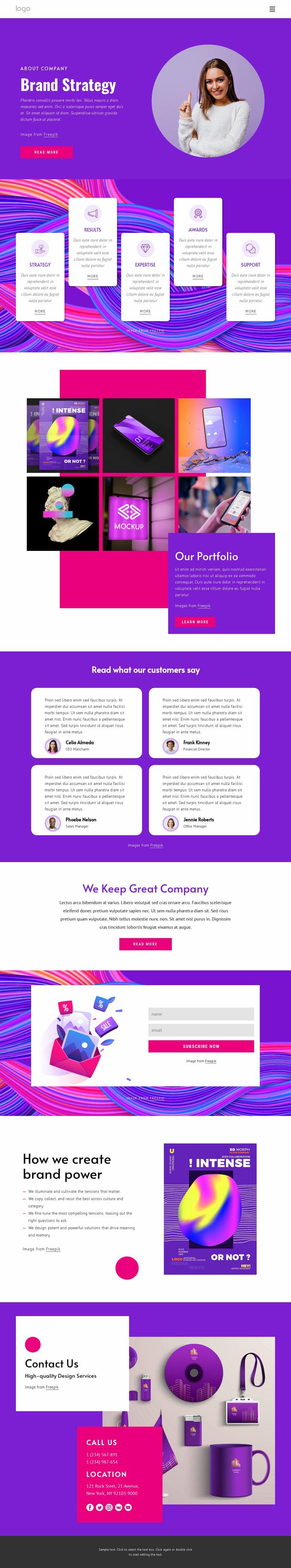 Brand strategy agency WordPress Website Builder