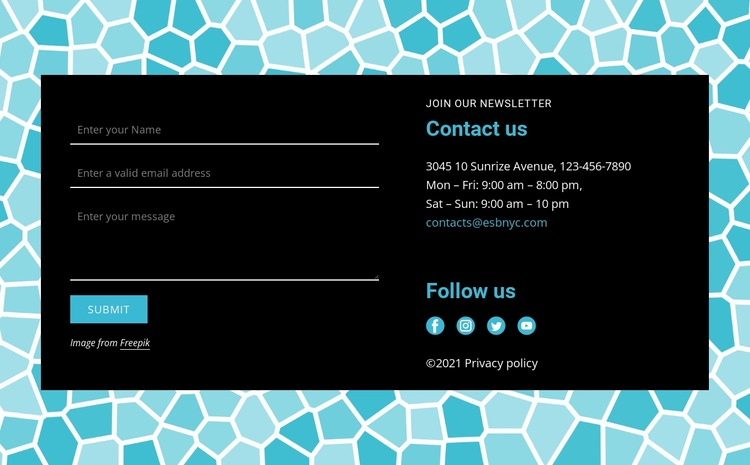 Contact form on pattern background Web Page Design