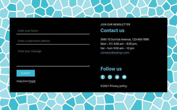 Contact form on pattern background Landing Page