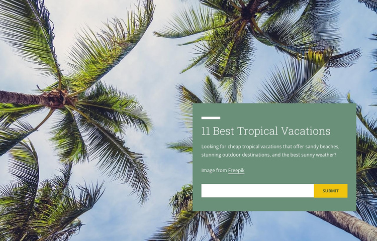 Tropical vacations Joomla Page Builder