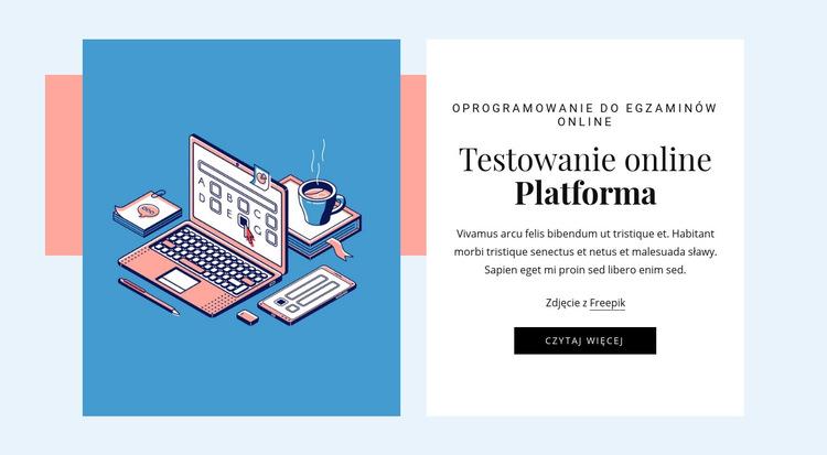 Platforma testowa online Szablon witryny sieci Web
