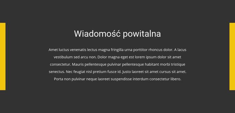 Wiadomość powitalna Szablon witryny sieci Web