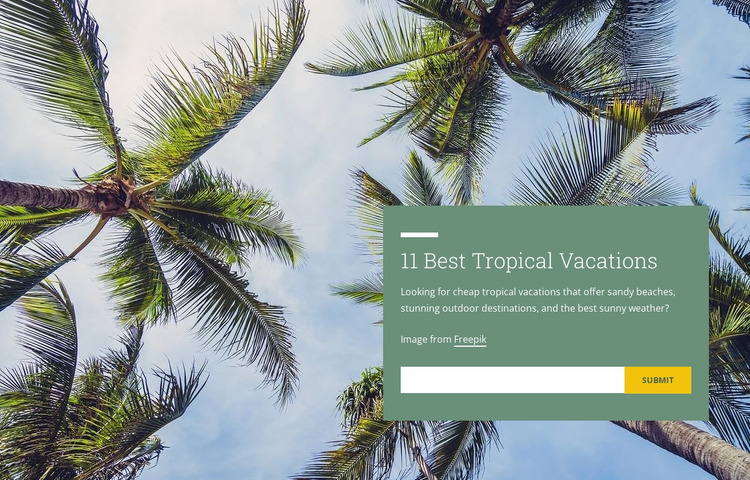 Tropical vacations Website Mockup