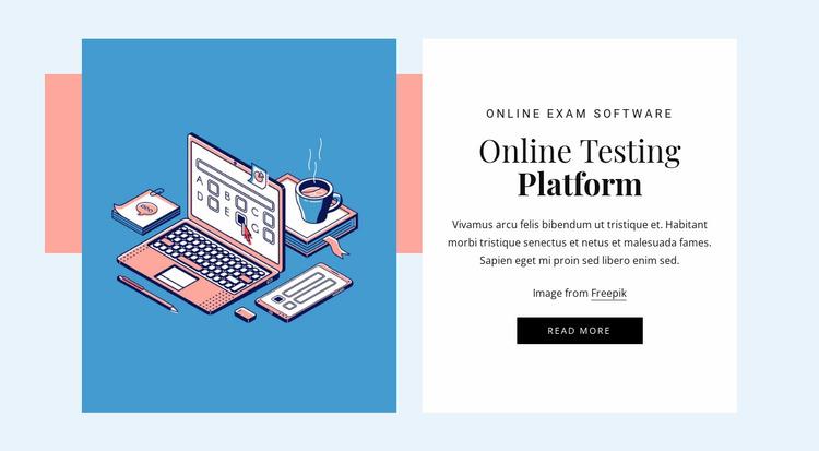 Online testing platform Website Mockup