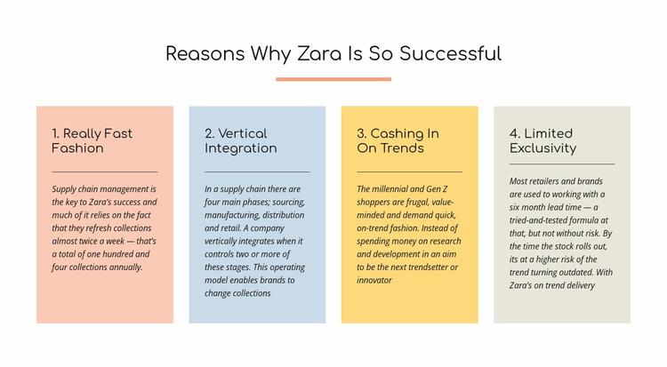 Text reasons zara successful Html Website Builder