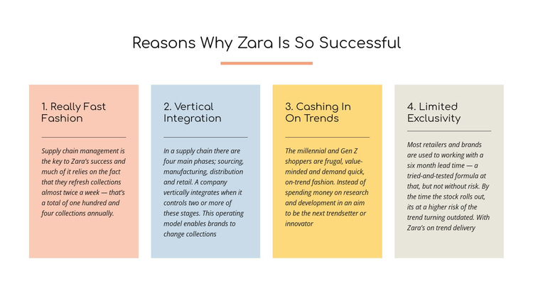 Text reasons zara successful One Page Template
