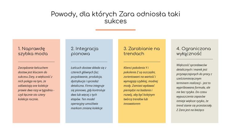 Tekst powody, dla których Zara odniosła sukces Szablon witryny sieci Web
