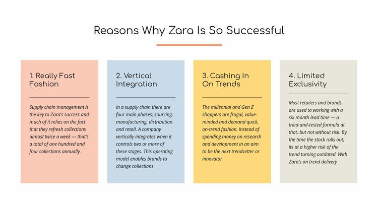 Text reasons zara successful Website Template