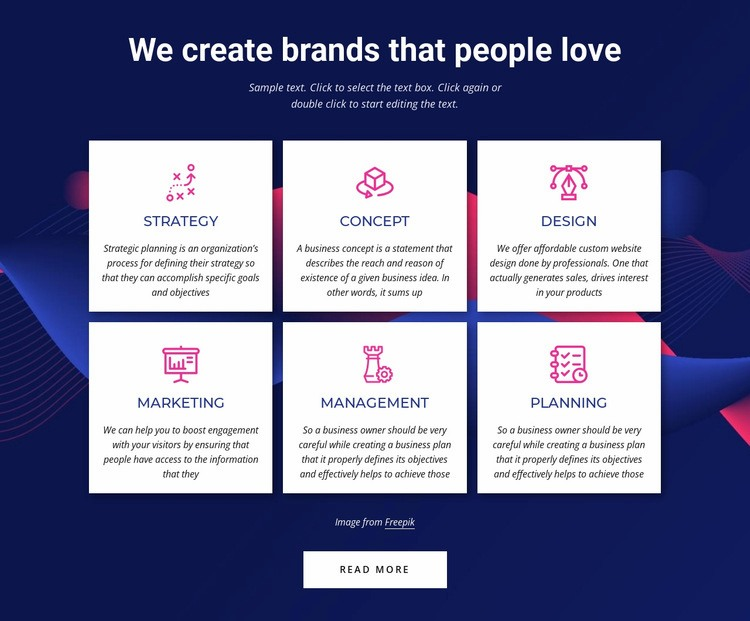 Branding communications agency services Web Page Designer