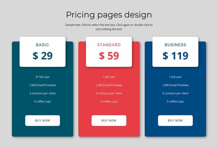 Pricing block design WordPress Website Builder