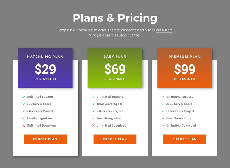 Awesome pricing plans HTML5 Template
