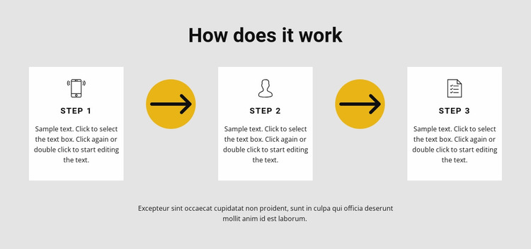 Three steps to work Website Mockup
