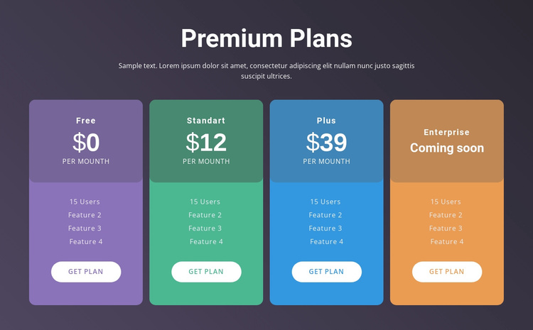 4 Pricing plans Joomla Template