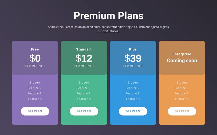 4 Pricing plans Website Template