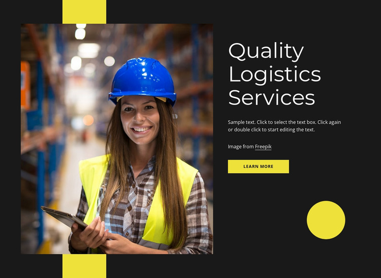 Quality logistics services Website Mockup