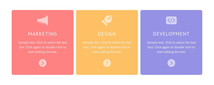 Colored cells with icons Joomla Template