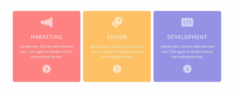Colored cells with icons Website Mockup