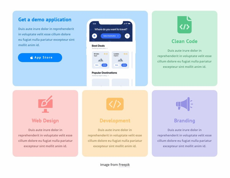 Grid with colored icons Html Code Example