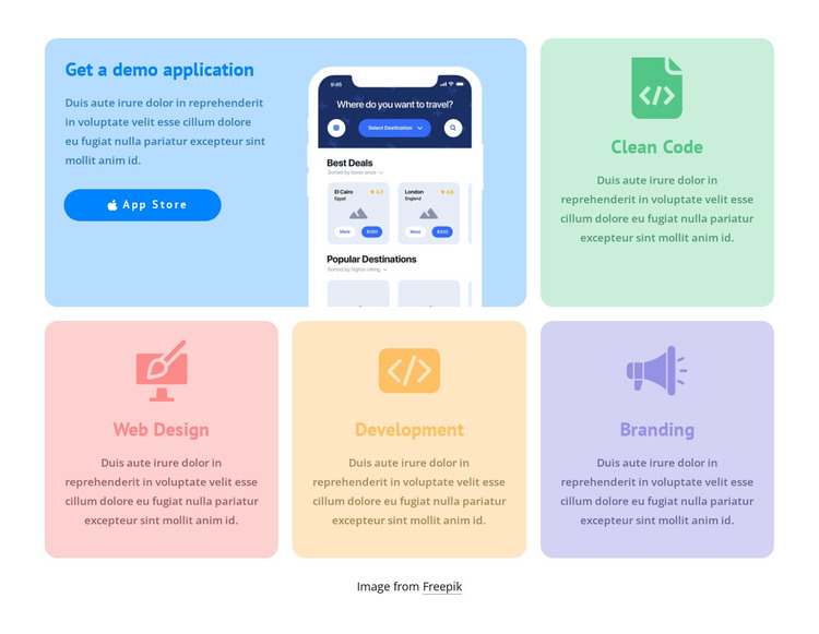 Grid with colored icons HTML Template
