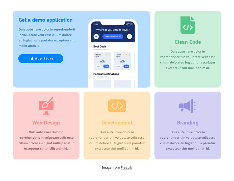 Grid with colored icons Website Builder Software